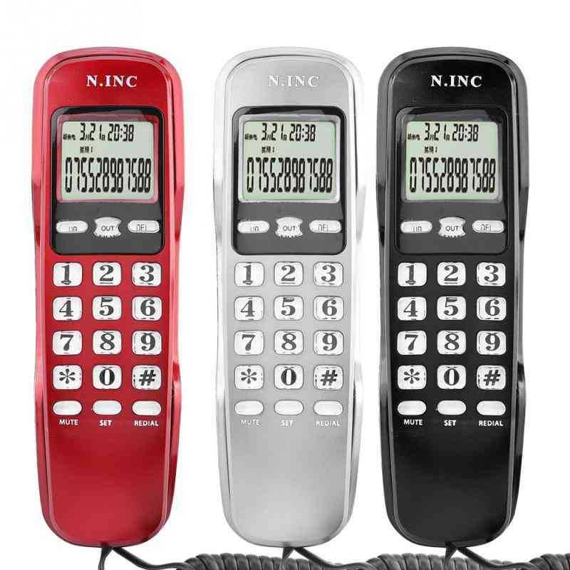 Mini Wall Telephone, Lcd Display, Wired Landline Phone