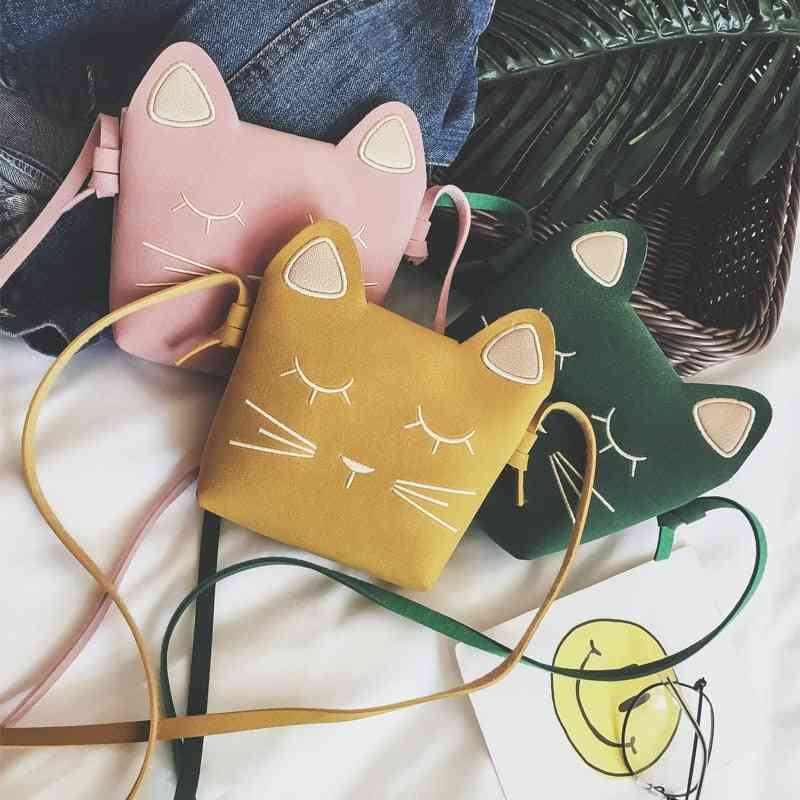 Children's Coin Purse Baby Cat-mini Shoulder Bag/cute Princess Messenger And Faux Suede Small Bags For Kids Girl