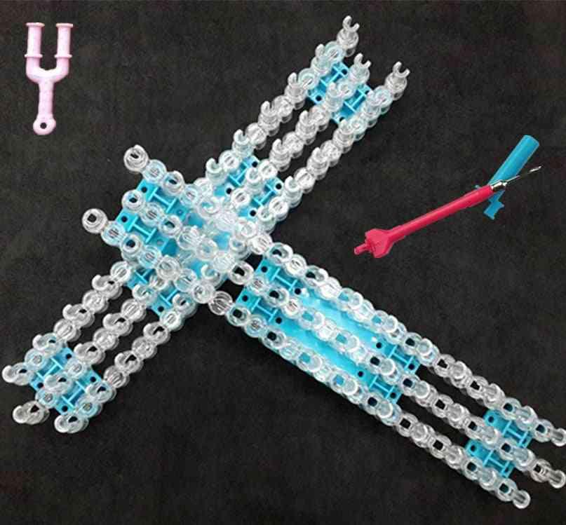 Rubber Band Loom Weaver Kit For Diy Elongated Knitting Machine, Bracelets Weaving Frame Bands Hook Arts Crafts