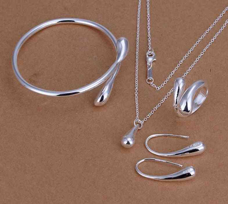 Water Drop Silver Necklace, Bangles, Rings, Earrings Sets