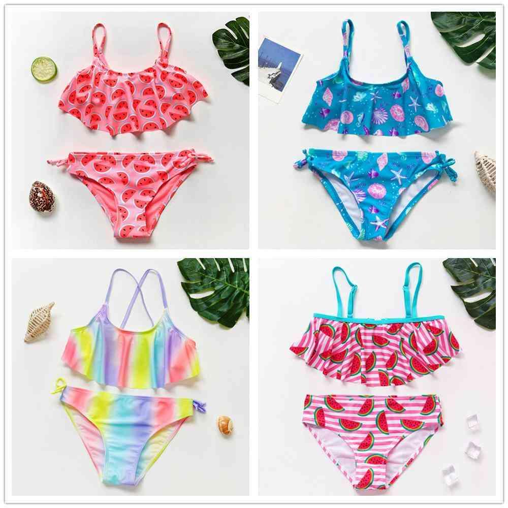 Ruffle Style, Cute Print Swimwear Set