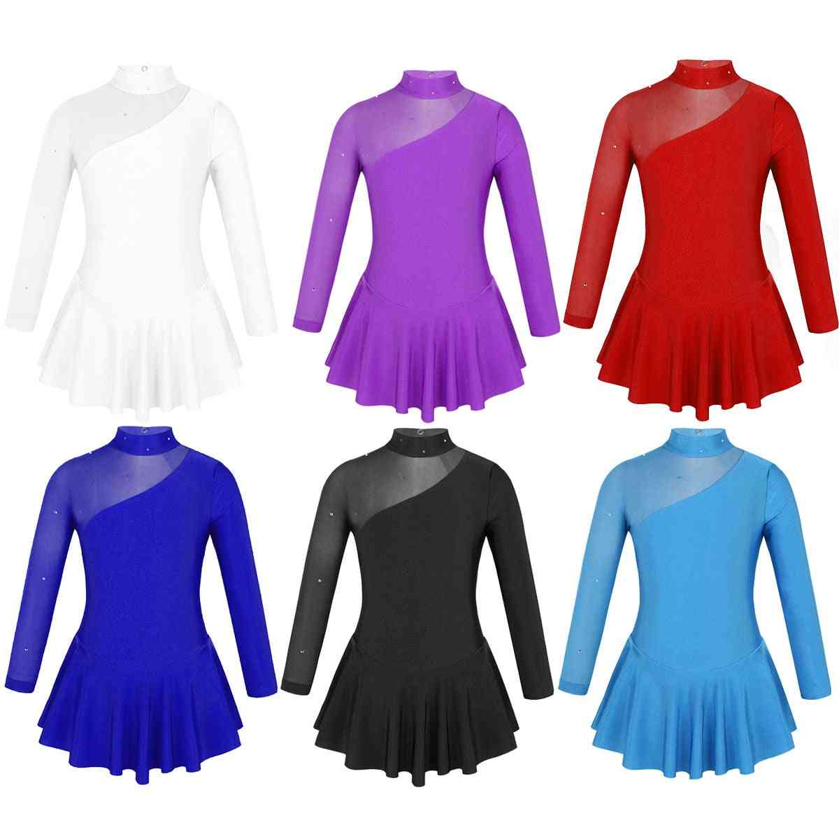 Girls Figure Ice Skating Competition Dress, Long Sleeves Tulle Splice Cutouts