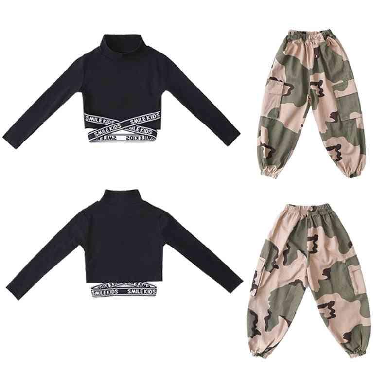 Kid Hip Hop Clothing Sweatshirt Crop Top Long Sleeve & Camouflage Streetwear Tactical Cargo Pants