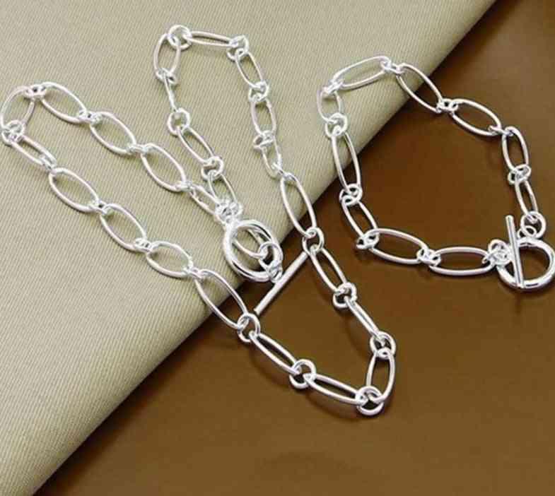 925 Silver Necklace Bracelet Jewelry Set