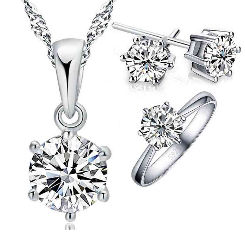 925 Sterling Zircon Crystal Bridal Jewelry Sets