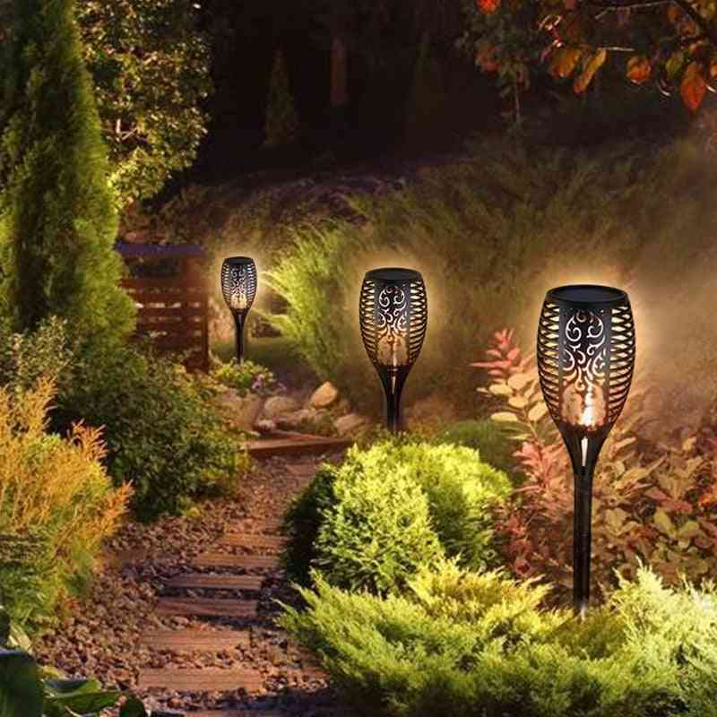 Led Solar Flame Outdoor Garden Light Flickering Flame Torches Lamp