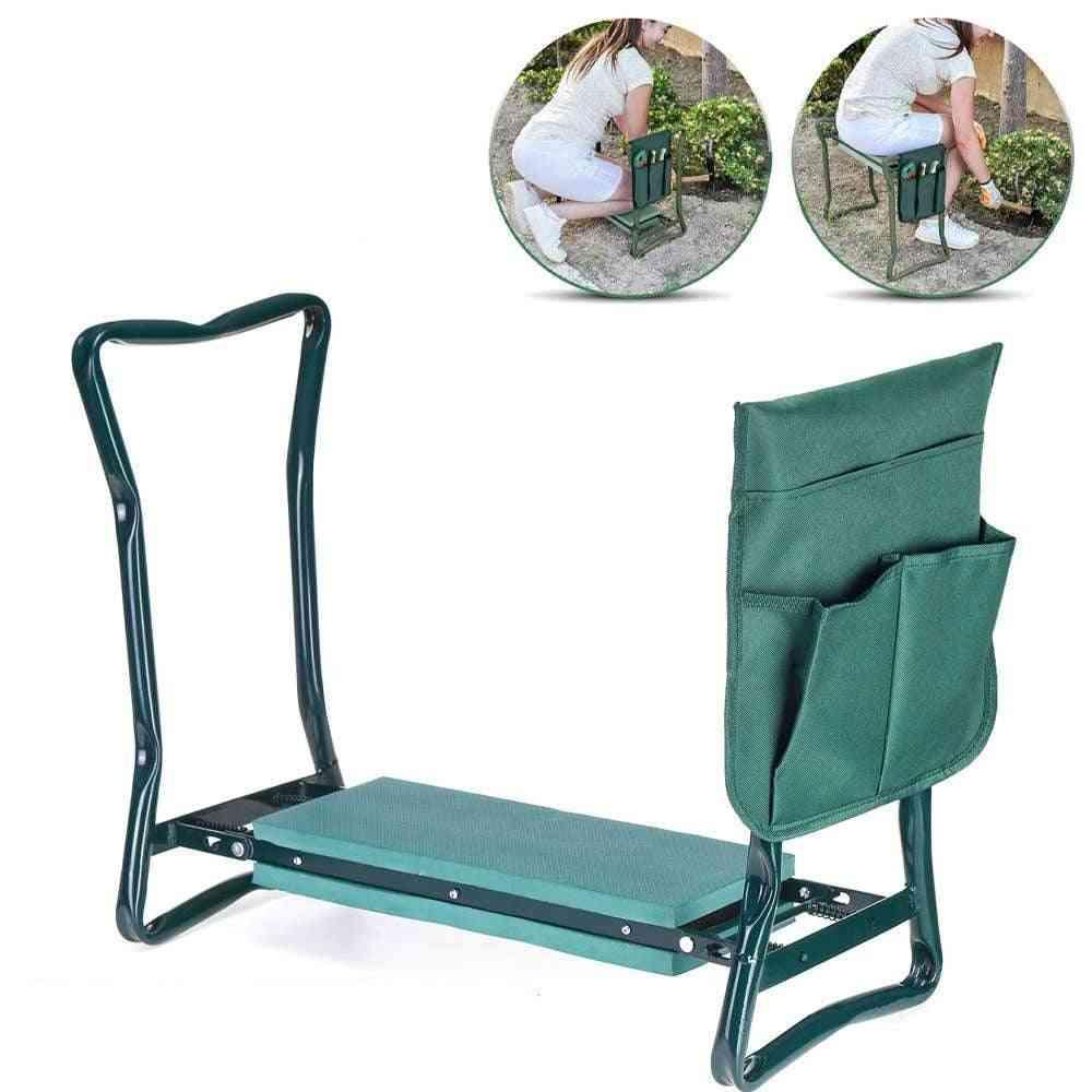 Stainless Steel- Garden Kneeler With Handles Folding Stool, Eva Kneeling Pad