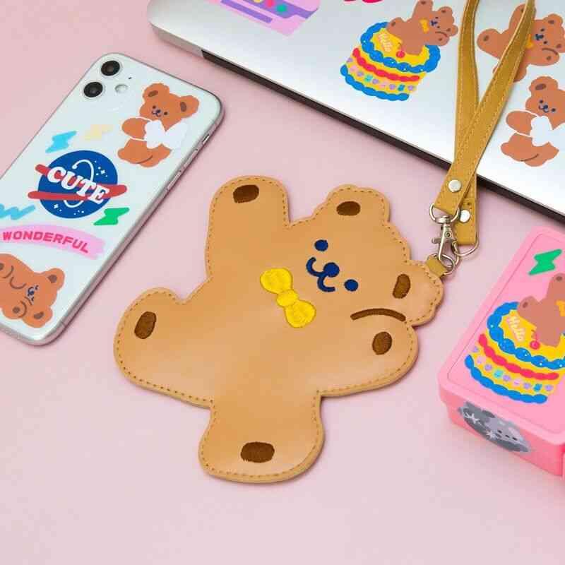 Children Student Bus Card  Case, Cute Bear Luggage Tag Women Bag Accessories