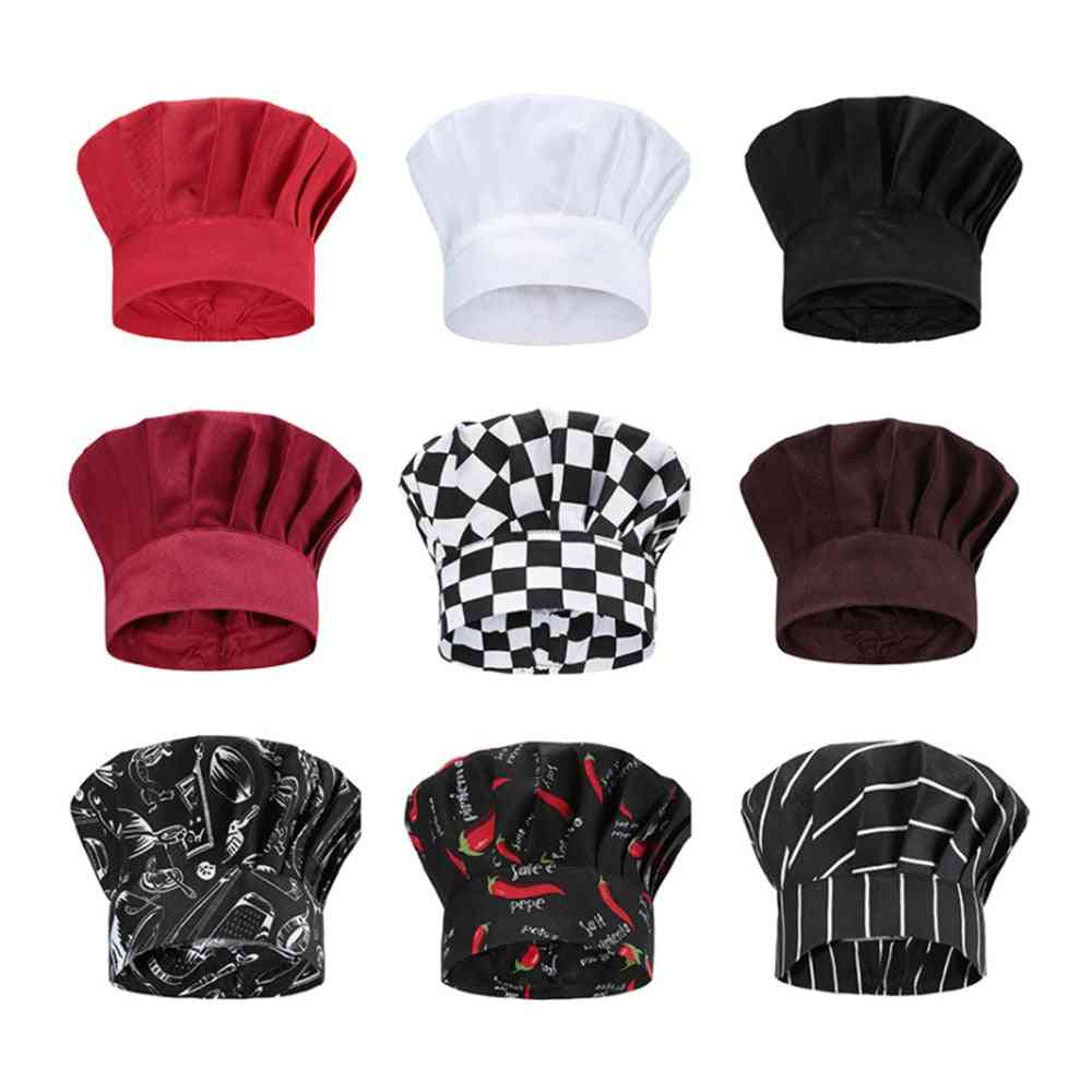 Food Service Chef Hat Cooking Adjustable Mushroom Cap Catering Elastic Kitchen Restaurant Hotel Catering Work Hat Wholesale