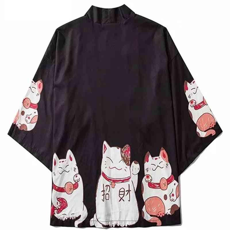 Summer Streetwear Cat Print Kimono Cardigan, Mandarin Robe Trend Kimonos