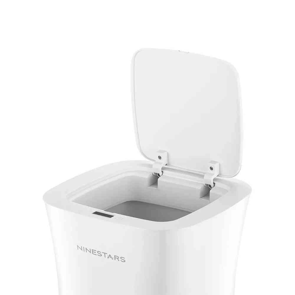 Kitchen Bathroom Waterproof Dustbin Household Smart Trash Bin Touchless Trash Can (white)