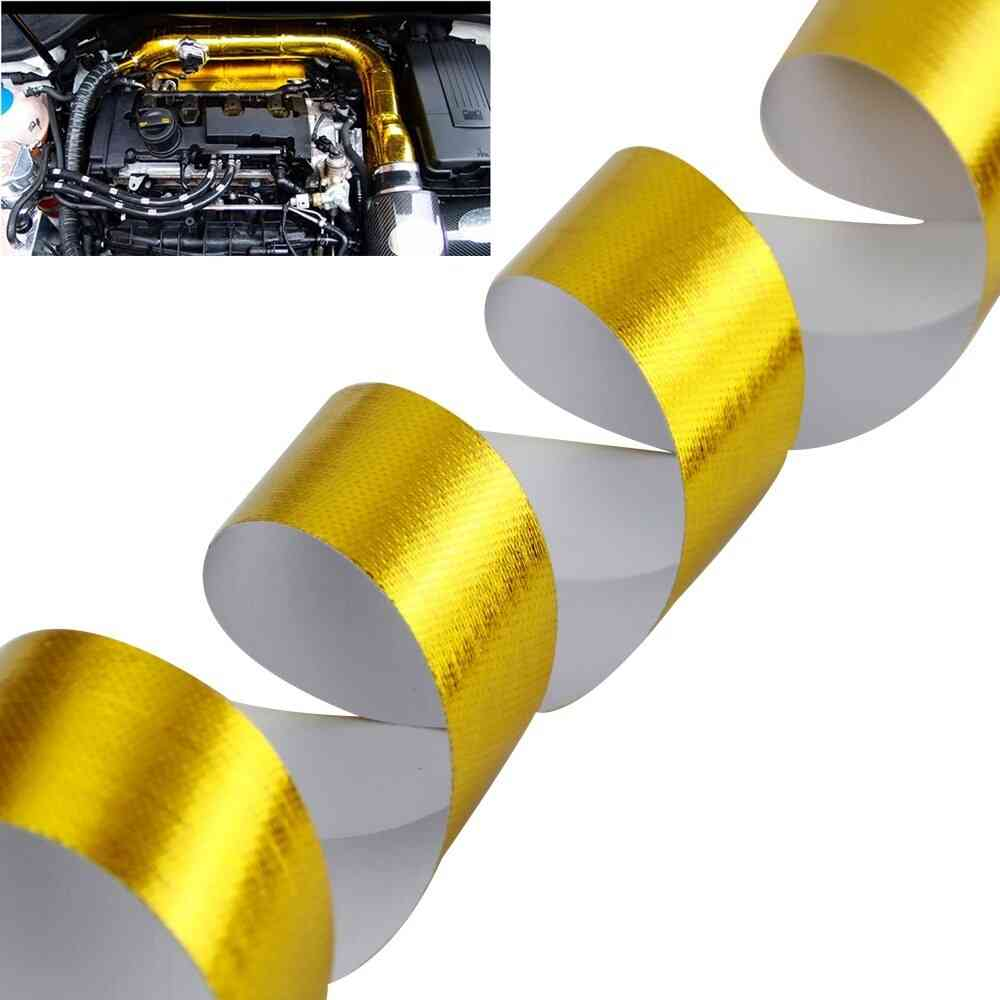 Gold Car Thermal Exhaust Air Intake Heat Insulation Shield Wrap Tape
