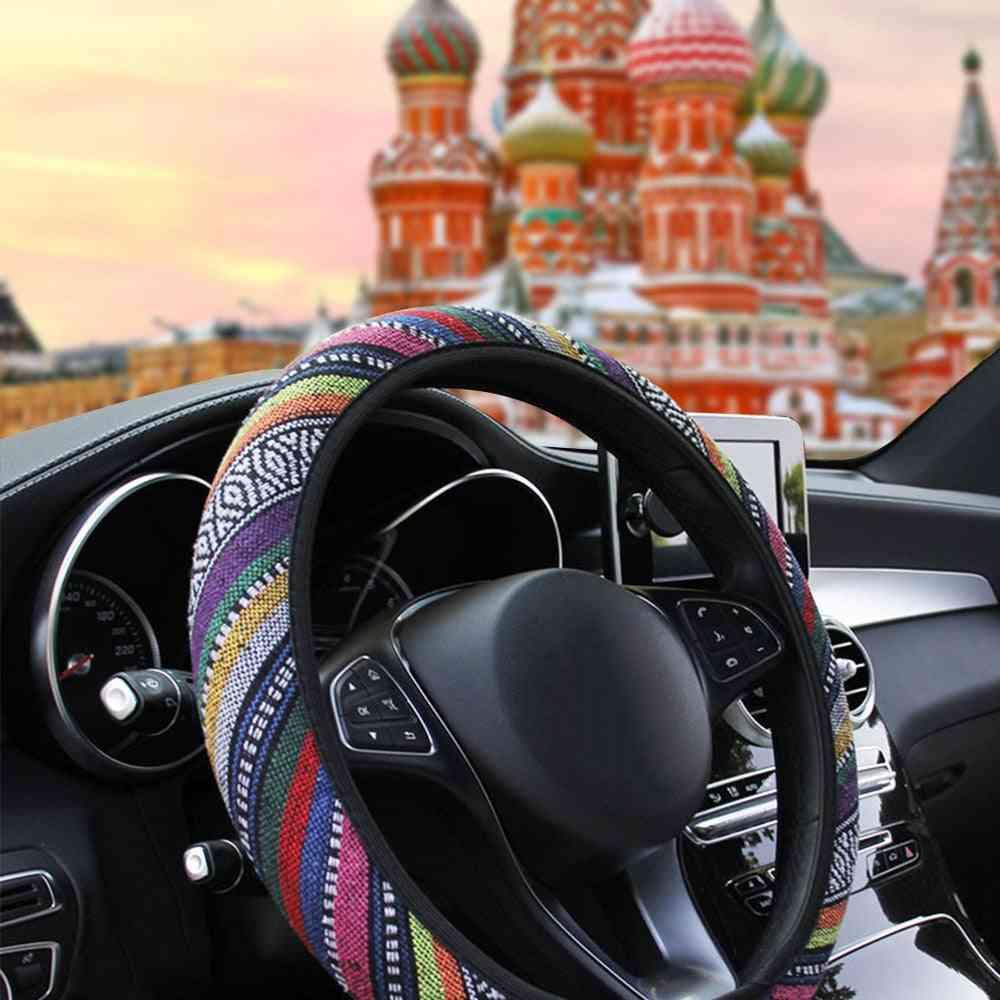 Ethnic Style Car Steering Linen Universal Wheel Cover