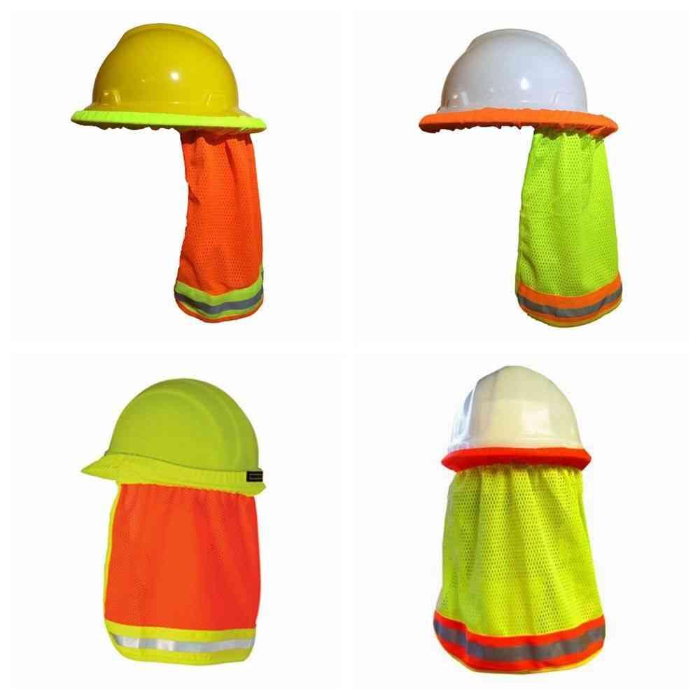 Summer Sun Shade & Safety Hard Hat Neck Shield Helmets, Reflective Stripe Useful Mesh Reflective Cap Cover