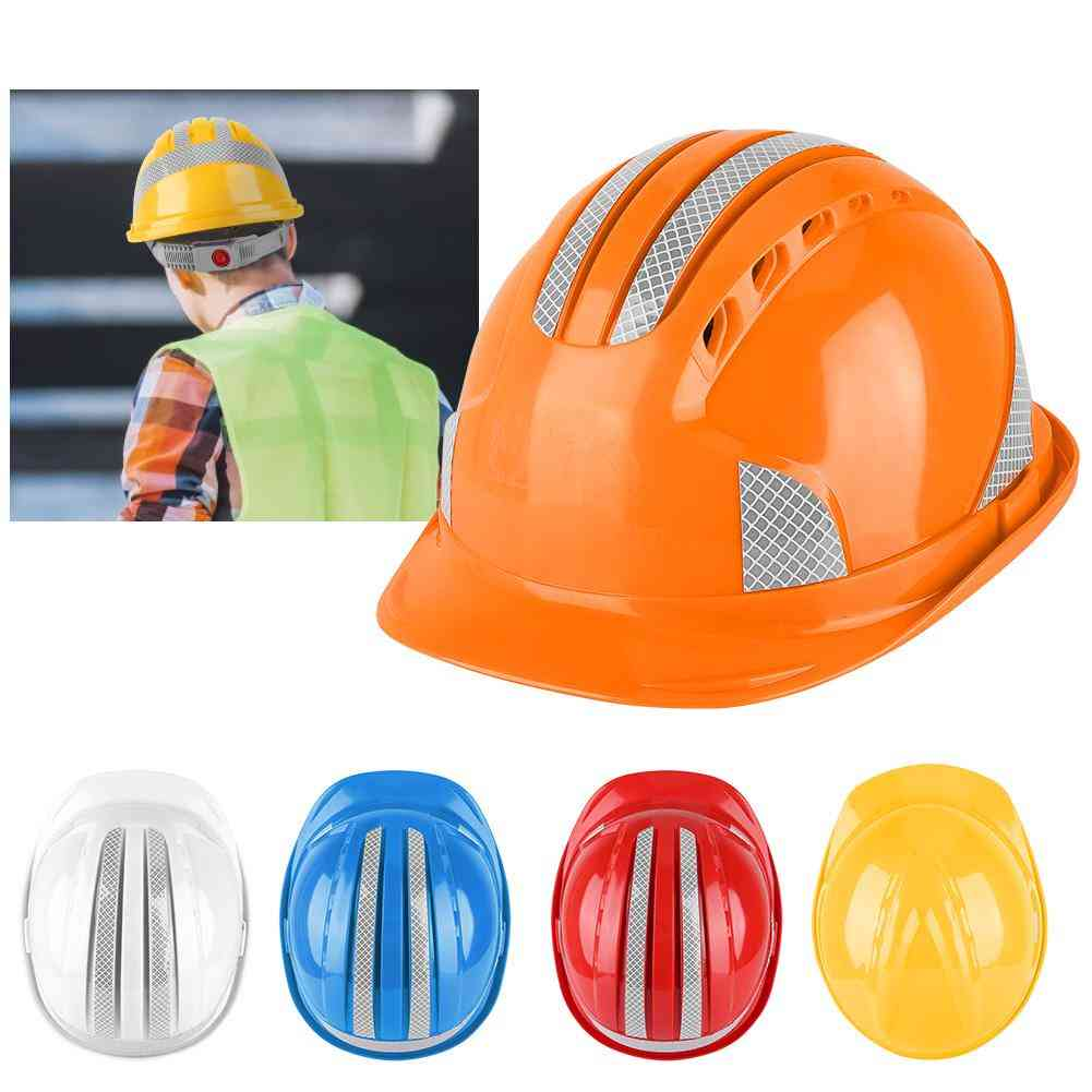 Worker Construction Site Protective Cap & Ventilate Abs Hard Hat Reflective Stripe Safety Helmet