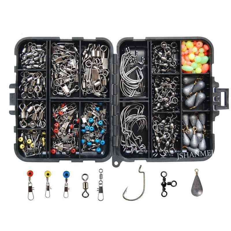 Fishing Jig Hooks, Sinker Weights Swivels, Snaps With Tackle Box Kit