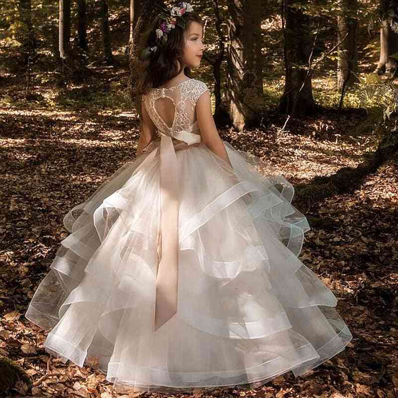 Flower Elegant Champagne, Lace Appliqué Sleeveless, Cascading Pageant Gowns For