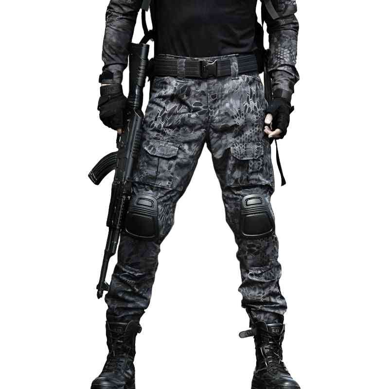 Camouflage Color Tactical Clothing Army Of Combat Uniform, Military Pants With Knee Pads, Airsoft Paintball Clothing