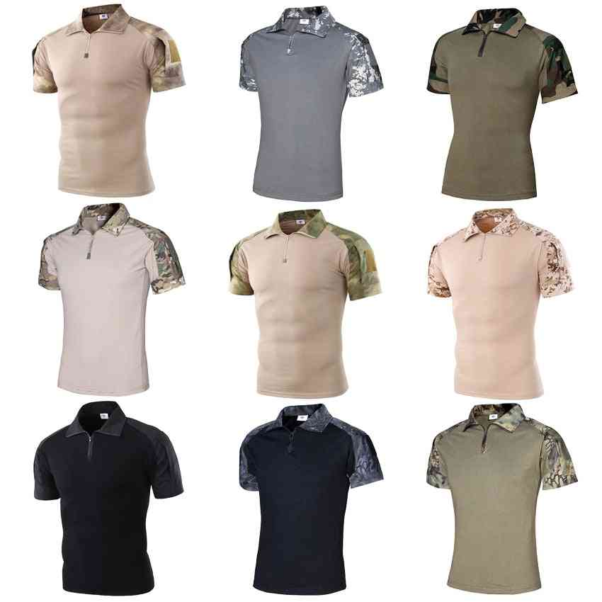 Short Sleeve Polo Shirt & Desert Camouflage Tactical Military Uniform Absorb Sweat Hunting Combat Army Suit