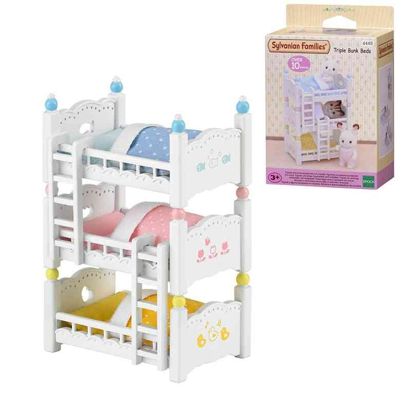 Families Dollhouse Playset, Triple Bunk Beds Accessories, Toy