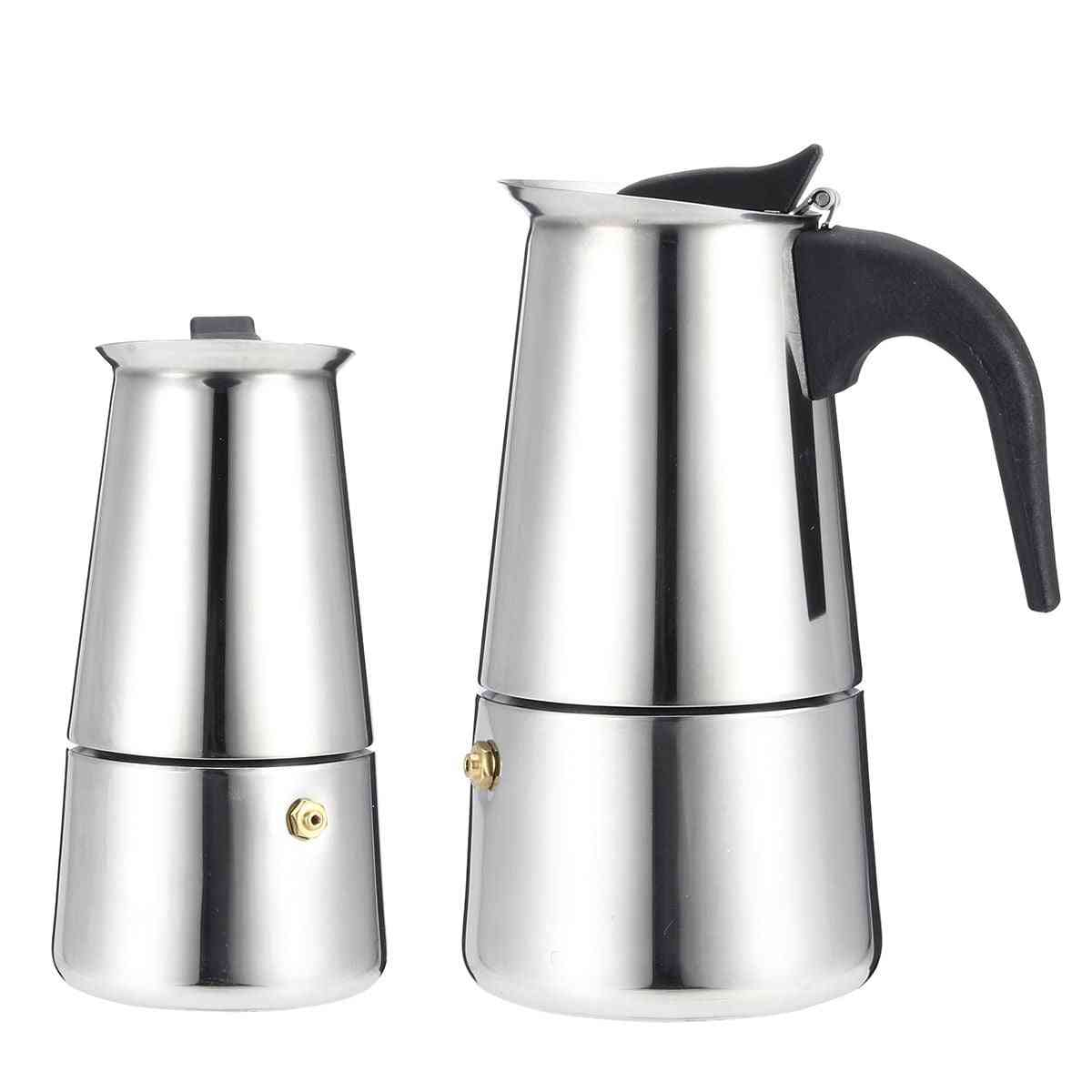 Stainless Steel Espresso Coffee Maker, Moka Pot With Electric Stove, Filter Kettle