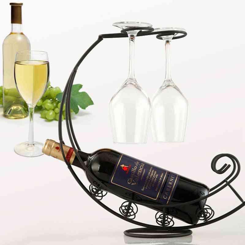 Creative Metal Wine Rack, Hanging Glass Holder, Display Stand Bracket Decor