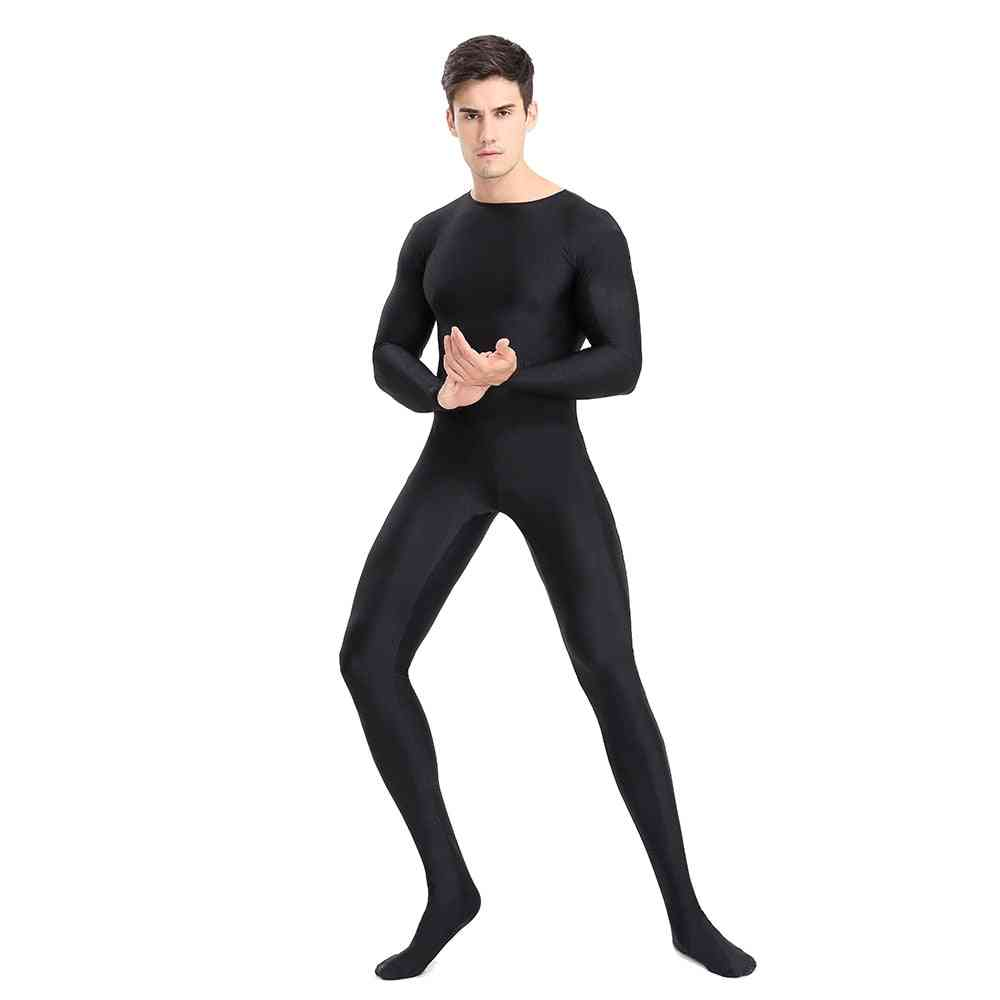 Full Body Zentai Spandex Footed Skinny Tight Jumpsuits