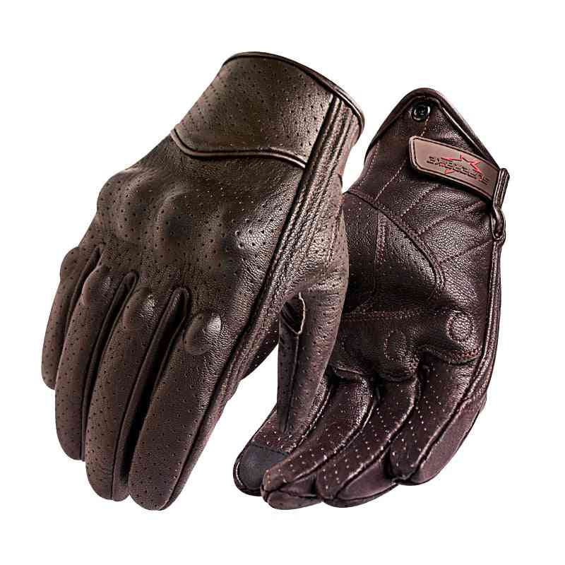 Motorcycle Gloves, Men Touch Screen Leather Electric Bike Glove, Cycling, Full Finger