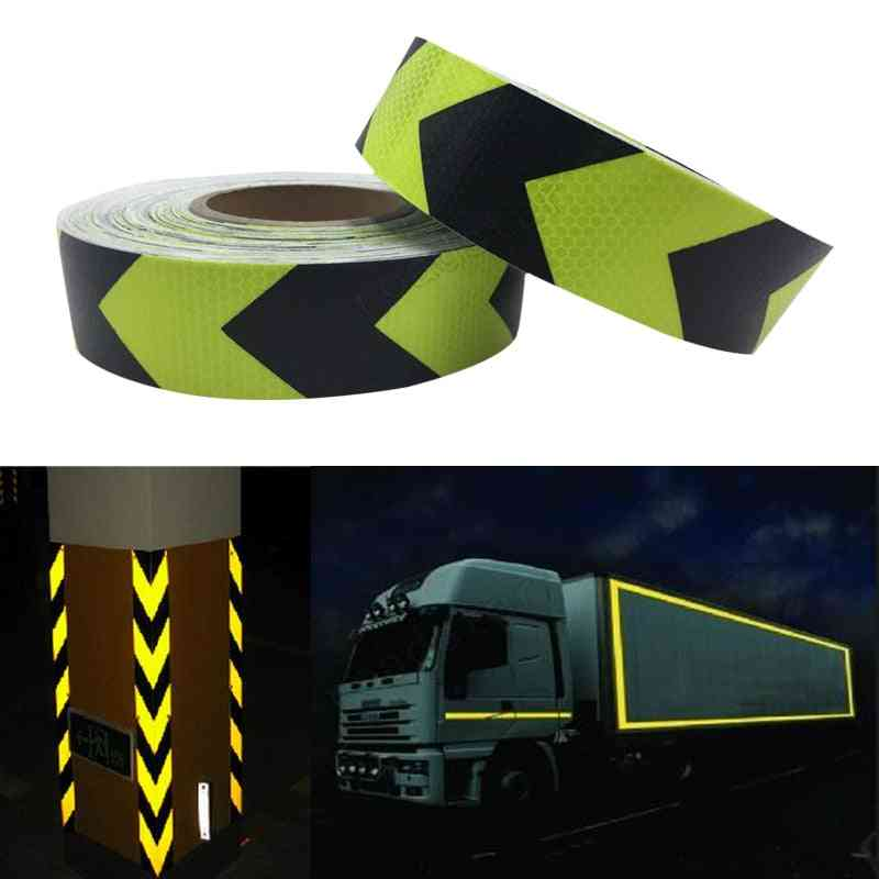 Fluorescent Yellow Arrow, Pet Reflective, Safety Warning Tape For Car