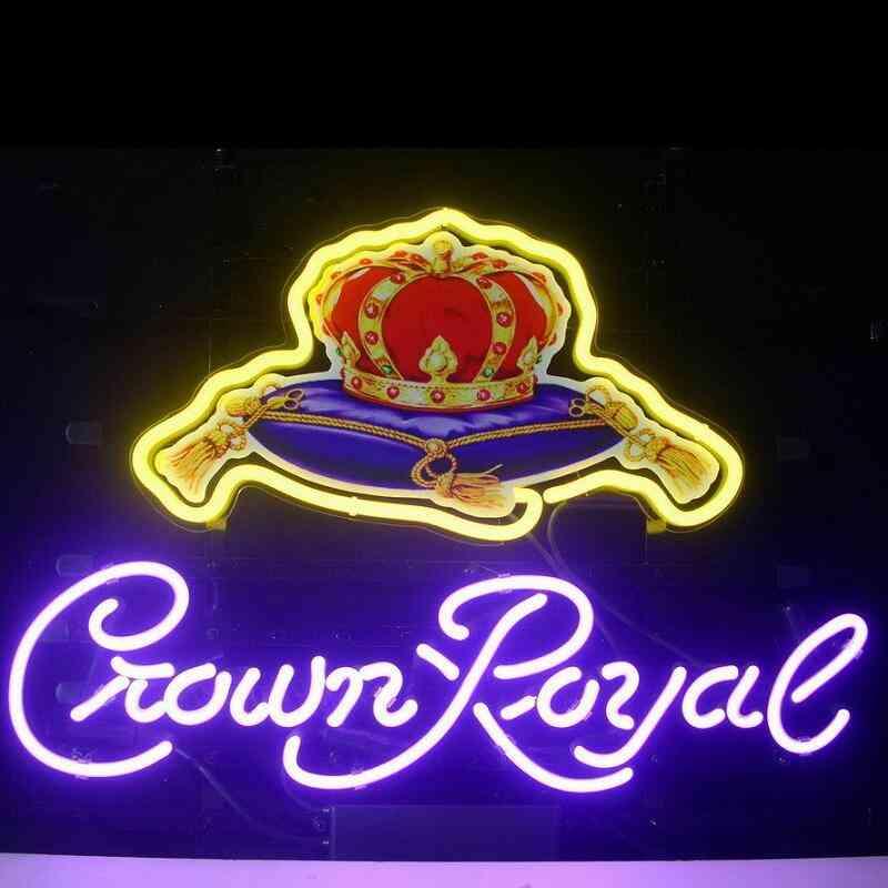 Custom Make Crown Royal Glass Neon Light Sign Beer Bar
