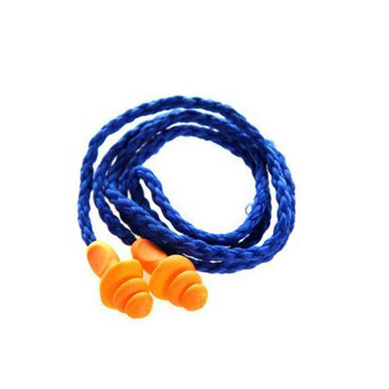 Soft Silicone Corded Ear Plugs, Protector Reusable Hearing Protection Noise Reduction Earplugs
