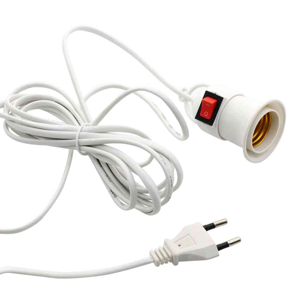 E27 Lamp Bases With Power Cord To Eu Plug Holder Adapter Converter For Bulb Lamp