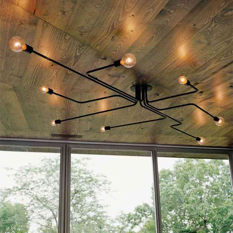 Vintage Iron Ceiling Lamp-multiple Metal Rod Chandelier