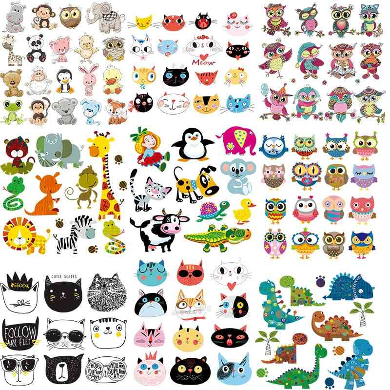 Pineapple Animal Cat Owls Patches, Iron On Kids Clothes Heat Transfer Sticker