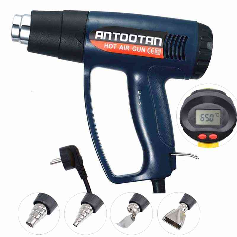 Eu Industrial Electric Hot Air Gun, Thermo Regulator Lcd Display, Shrink Wrapping, Thermal  Power Tool