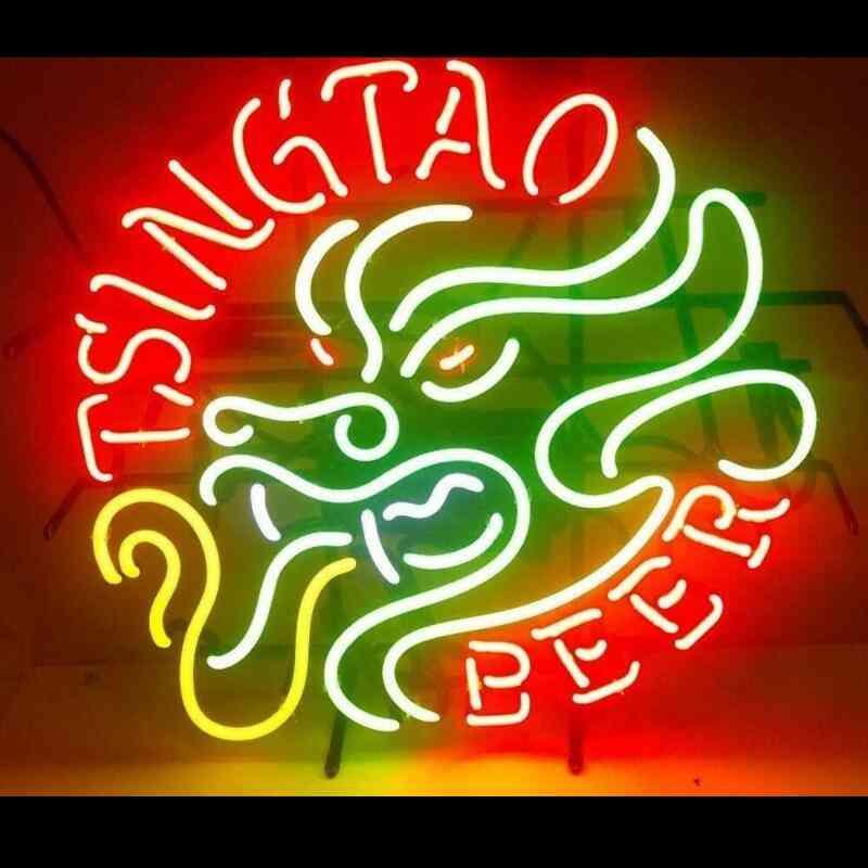 Tsingtao Dragon Beer Glass Neon Light Sign For Decoration