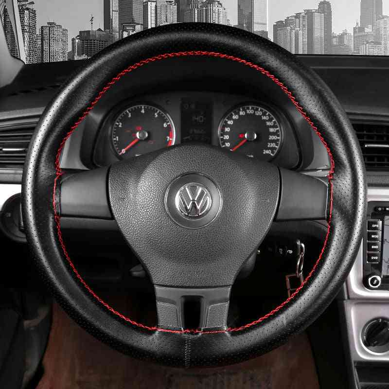 Car Steering Wheel Braid & Soft Texture Covers With Needles And Thread Leather