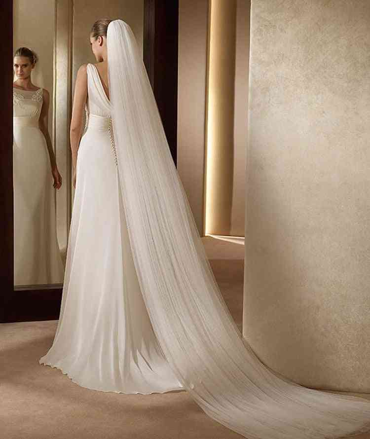 1-layer Bride, Headdress Veil With Comb