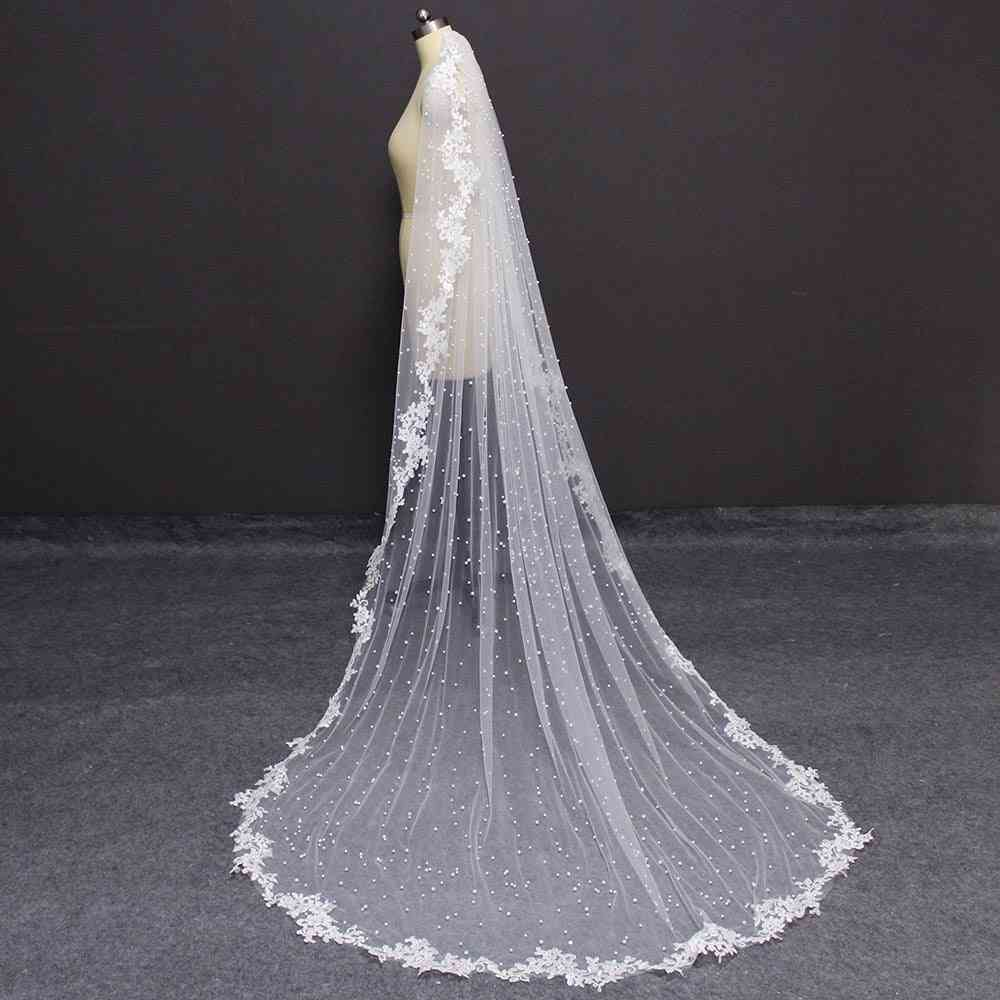 Pearls Lace, Appliques Edge, Long Veil With Comb Dress