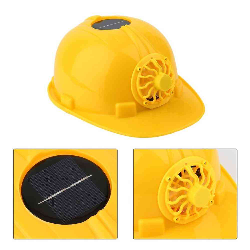 Comfortable Solar Panel Power Safety Helmet With Cooling Cool Fan, Hard Ventilate Hat Cap
