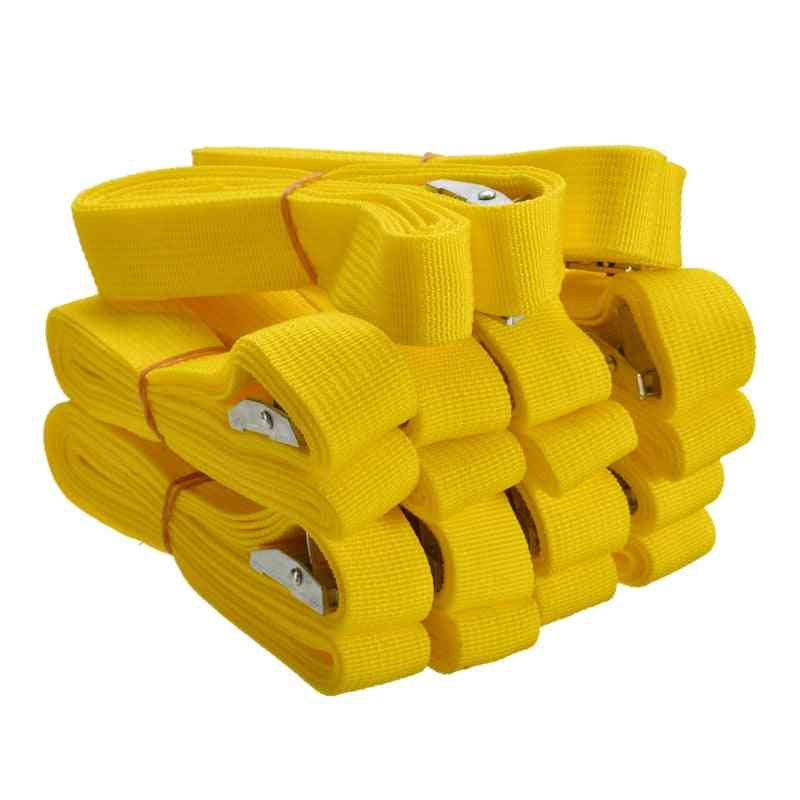 10pcs Yellow Buckled Straps Tension Belt For Car Motorcycle Bike
