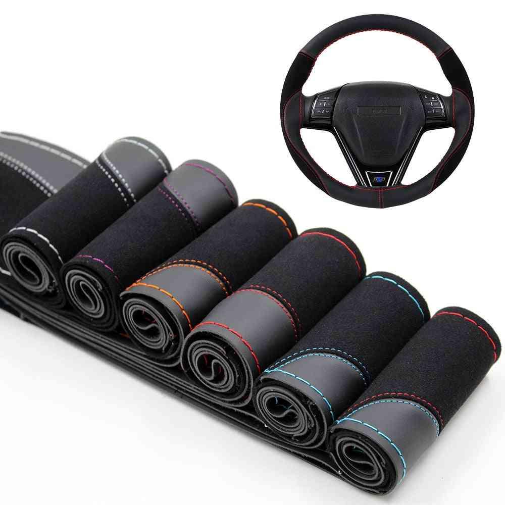 Steering Wheel Cover Wear-resistant Soft Pu + Suede Leather Car Steering-wheel Braid