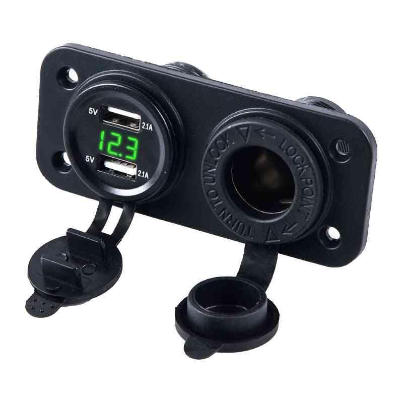 Car Motorcycle 12v-24v Power Supply Adapter Socket, Panel Plate Mount Outlet