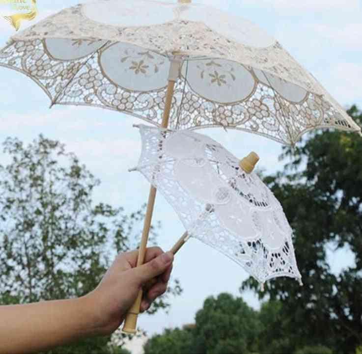 Wood Embroidery Cotton Lace Umbrella