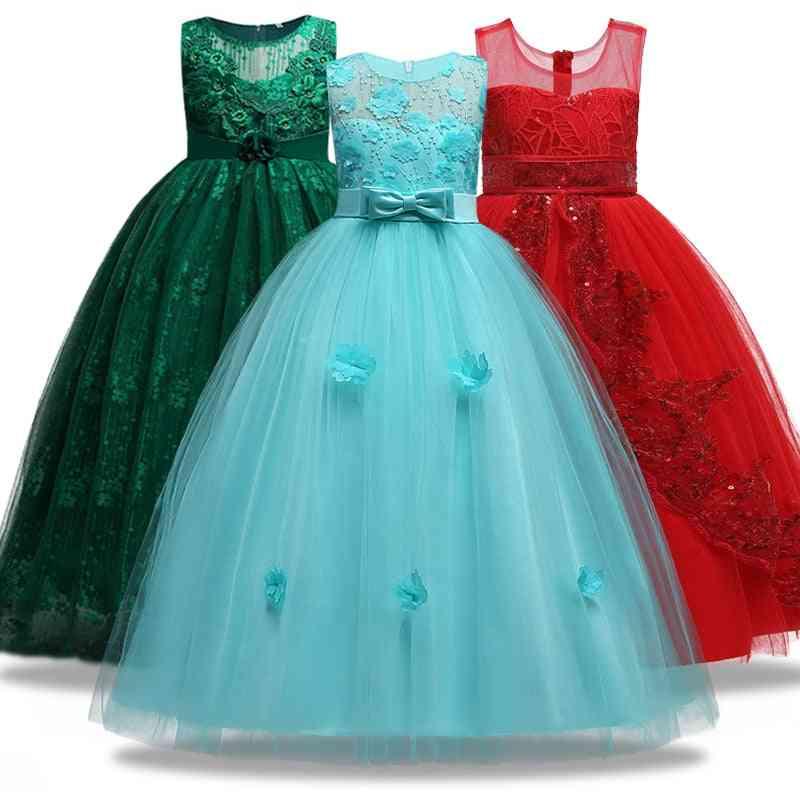Children's Girl Wedding Flower Sleeveless, Lace Applique Ball Dress