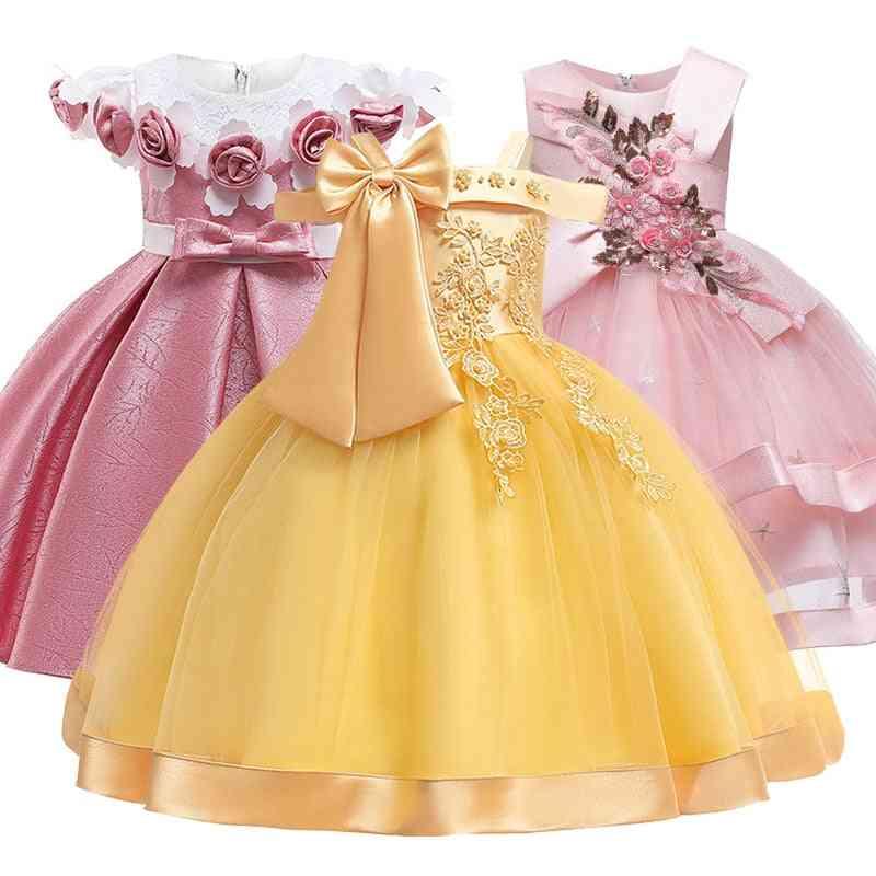 Shoulder Suspender Bow Nail Pearl Flower Ball Dress