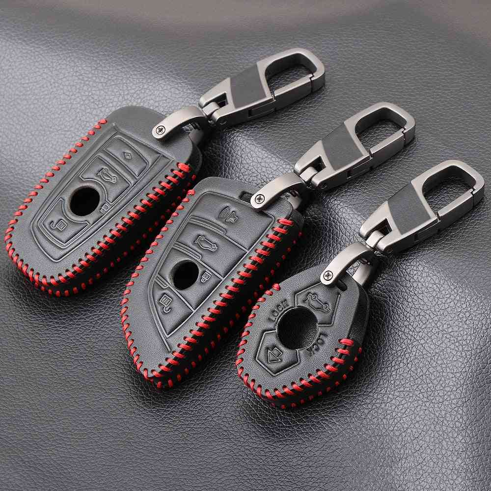Genuine Leather Key Cover Case Remote For Bmw Key