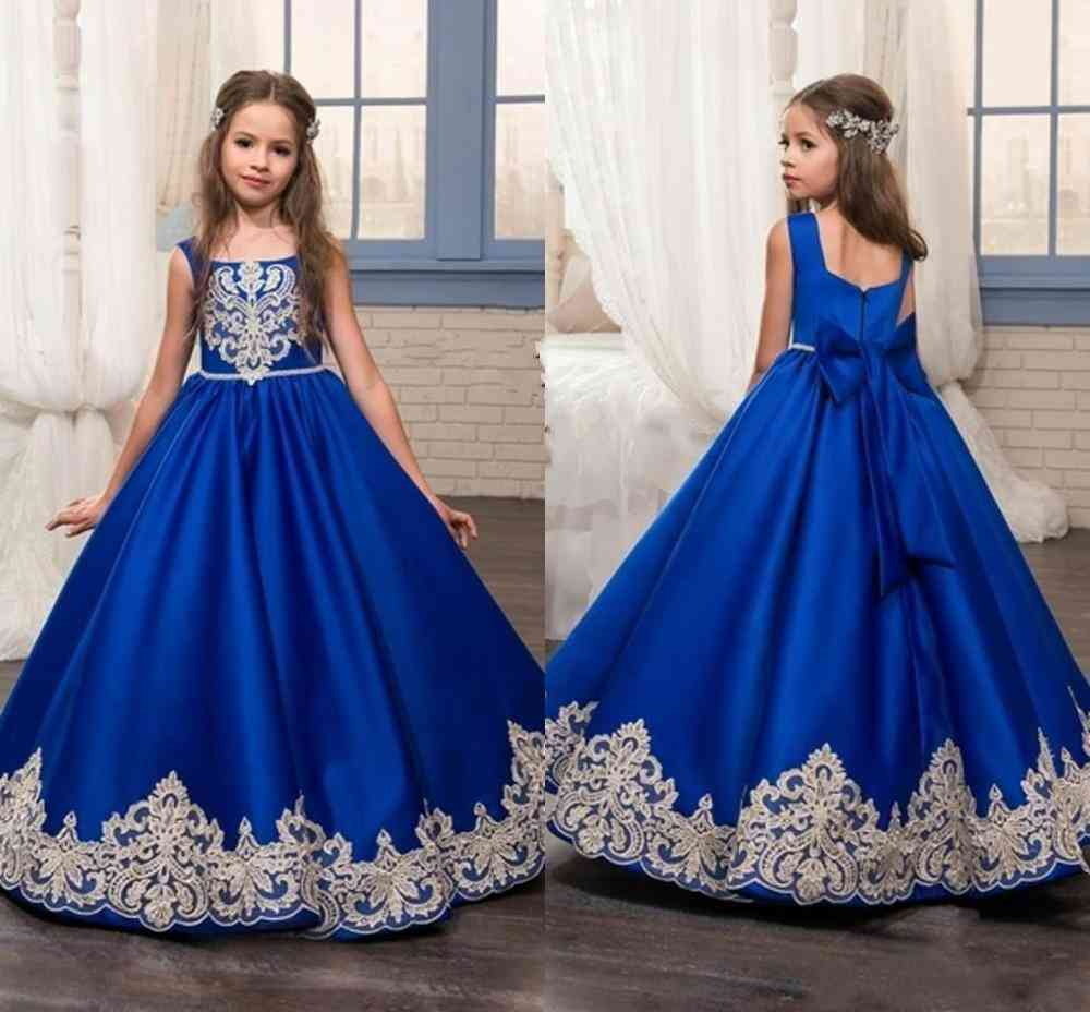 Floor Length Flower Applique Pageant Gown Dress For Girl