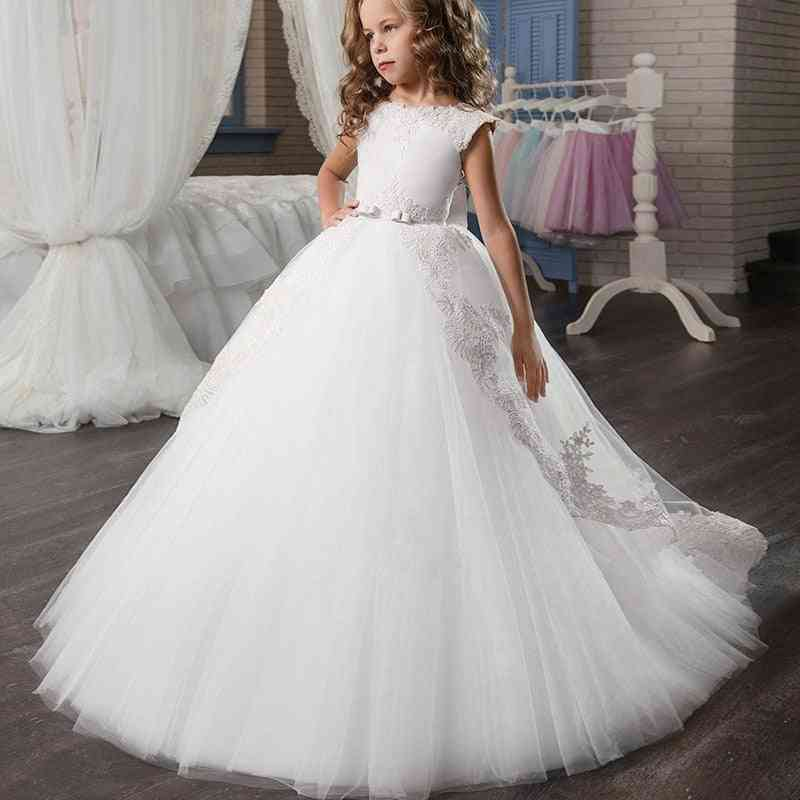 Flower Girl Little Bridesmaid Banquet Tail Embroidery Dress