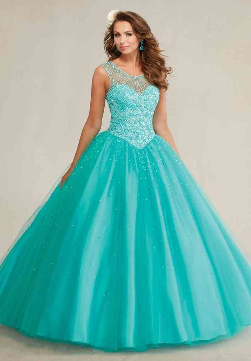 Pearls Sparkly Crystal Backless Dress